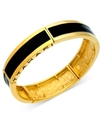 Bracelet, 14k Gold-Plated Black Epoxy Bangle Brace