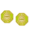 Earrings, Gold-Tone Neon Yellow Octogon Logo Stud 