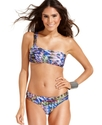 Swimsuit, One-Shoulder Printed Ruched Bikini Top W