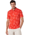 Shirt, Short Sleeve Palm Print Knit Polo Shirt