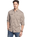 Shirt, Long Sleeve Knit Canvas Trim Button Front S