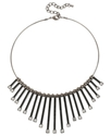 Haskell Necklace, Hematite-Tone Glass Fringe Front