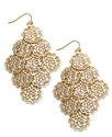 Sequin Earrings, Gold-Tone Circle Filigree Chandel