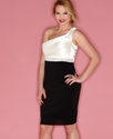 Plus Size Dress, One Shoulder Jewel Satin Sheath