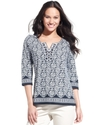 Petite Top, Three-Quarter-Sleeve Beaded Printed Tu