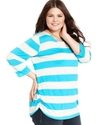 Plus Size Top, Three-Quarter-Sleeve Striped Croche
