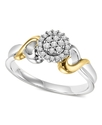 Diamond Ring, Sterling Silver and 14k Yellow Gold 