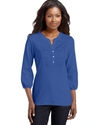 Top, Three-Quarter-Sleeve Henley Scoop-Neck