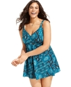 Plus Size Swimsuit, Exotic-Print Babydoll Swimdres
