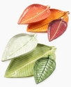 Trays, Set of 3 Green Nesting Leaf