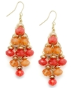 Earrings, Gold-Tone Coral Bead Chandelier Earrings