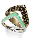 Ring Set, Two-Tone Chevron Stackable Rings