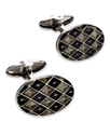 Men's Sterling Silver Cuff Links, Diamond Enamel C