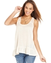 Juniors Top, Sleeveless Ruffled Open-Knit