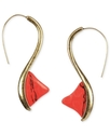 RACHEL Rachel Roy Earrings, Worn Gold-Tone Coral S