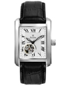 Watch, Men&#39;s Automatic Black Leather Strap 35mm 96