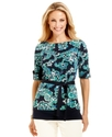 Top, Short-Sleeve Paisley-Print Tunic