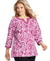 Plus Size Top, Three-Quarter-Sleeve Printed Tunic