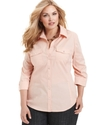 Plus Size Shirt, Three-Quarter-Sleeve Utility