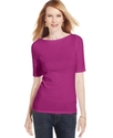 Top, Short-Sleeve Pima Cotton Boat-Neck