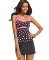 Swimsuit, Dot-Print Empire Tankini Top Women's Swi