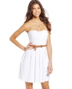 Juniors Dress, Strapless Belted A-Line