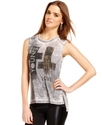 Juniors Top, Sleeveless Graphic Muscle Tee
