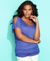 Plus Size Top, Short-Sleeve Shoulder-Cutout