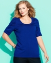 Plus Size Sweater, Short-Sleeve Ruched Scoop-Neck
