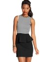 Juniors Dress, Sleeveless Striped Peplum