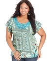 Plus Size Top, Short-Sleeve Printed Sequin Appliqu