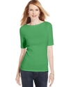 Petite Top, Three-Quarter-Sleeve