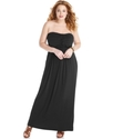 Plus Size Dress, Strapless Ruched Empire Maxi