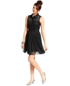 Juniors Dress, Sleeveless Lace A-Line