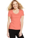 Petite Top, Short-Sleeve Satin-Trim Tee