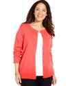 Plus Size Sweater, Long-Sleeve Silk-Blend Cardigan