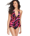 Swimsuit, Printed Ruffle Halter Tankini Top Women'