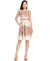 Dress, Sleeveless Printed Belted