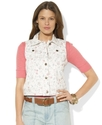 Lauren Jeans Co. Jacket, Floral-Print Denim Vest
