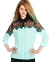 Juniors Top, Long Sleeve Lace Colorblock Blouse