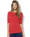 Top, Short-Sleeve Boat-Neck Tee