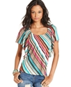 Juniors Top, Short Flutter Sleeve Striped