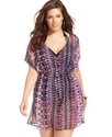 Plus Size Cover Up, Batwing-Sleeve Tribal-Print Wo