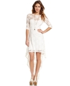 Juniors Dress, Short Sleeve Lace High-Low