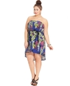 Plus Size Dress, Strapless Printed Belted High-Low