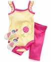 Set, Baby Girls 3-Piece Set with Bodysuit, Capris