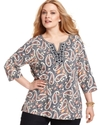 Plus Size Top, Three-Quarter-Sleeve Paisley Tunic