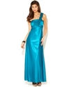 Morgan Juniors Dress, One-Shoulder Ruffle Satin Go
