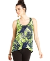 Juniors Top, Sleeveless Printed High-Low Tank