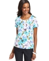 Top, Short-Sleeve Floral-Print Tee
